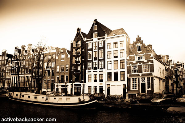 Amsterdam Canal And Houseboat