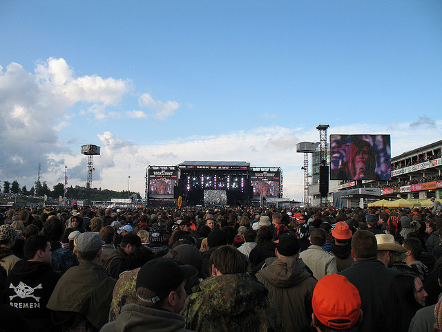 Crowd watching the stage at the Rock Am Ring Music Festival in Germany