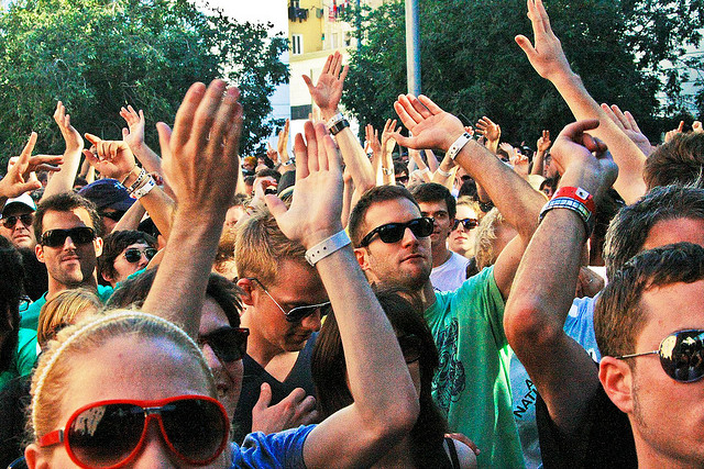 People dancing on the street at the Sonar Festival in Barcelona