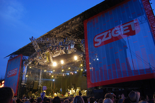 Photo of the stage with huge signs that read 'Sziget' at this festival.