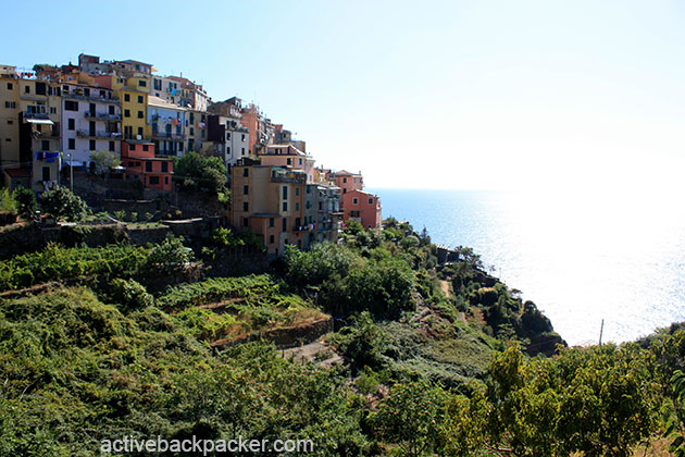 Corniglia atop the cliff in Cinque Terre