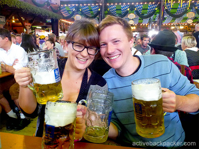 Us With Beers at Oktoberfest