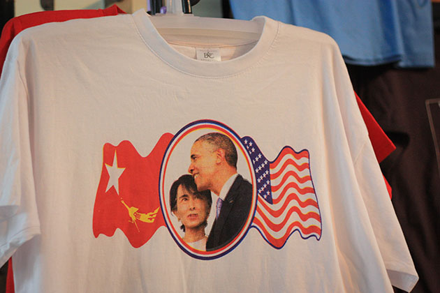 Aung San and Obama Tshirt in Bogoyke Market