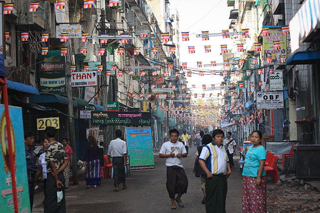 Bunting around Yangon