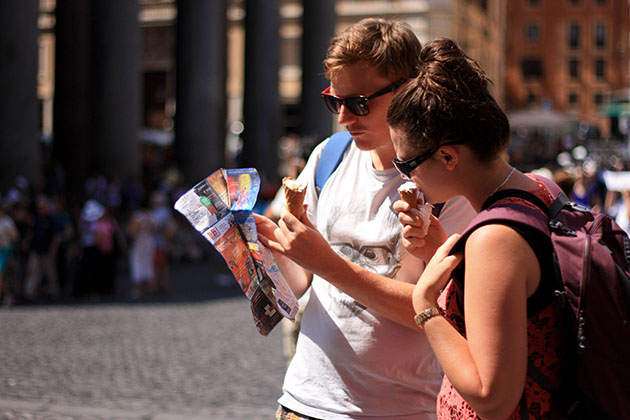 Backpacking Europe - Reading a map in Rome