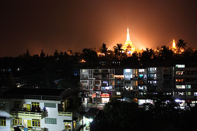 Shwedagon Pagoda from a distance.