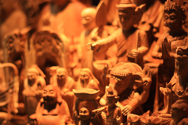 Wooden Carvings in Yangon Market