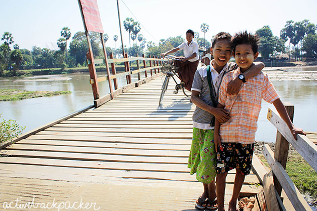 Myanmar Boys on Bridge in Taungoo