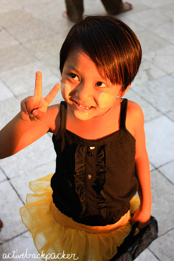 Burma Girl Gives Peace Sign