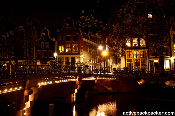 Amsterdam Canal Lit Up At Night
