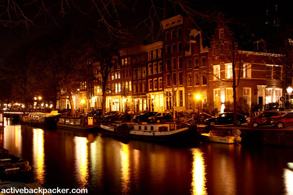 Amsterdam Houseboats At Night
