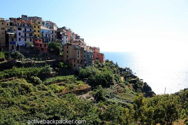 Corniglia atop the cliff in Cinque Terre