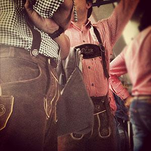 Men Wearing Lederhosen in Munich