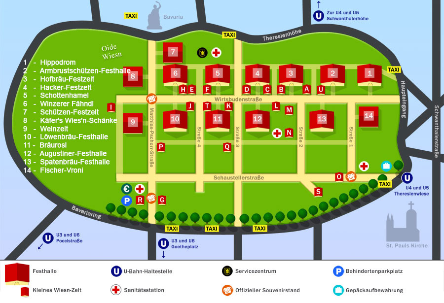A map of the Oktoberfest in 2012
