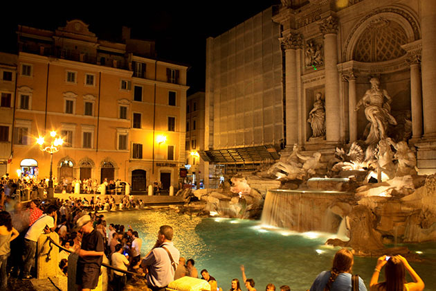 Trevi Fountain at night in Rome
