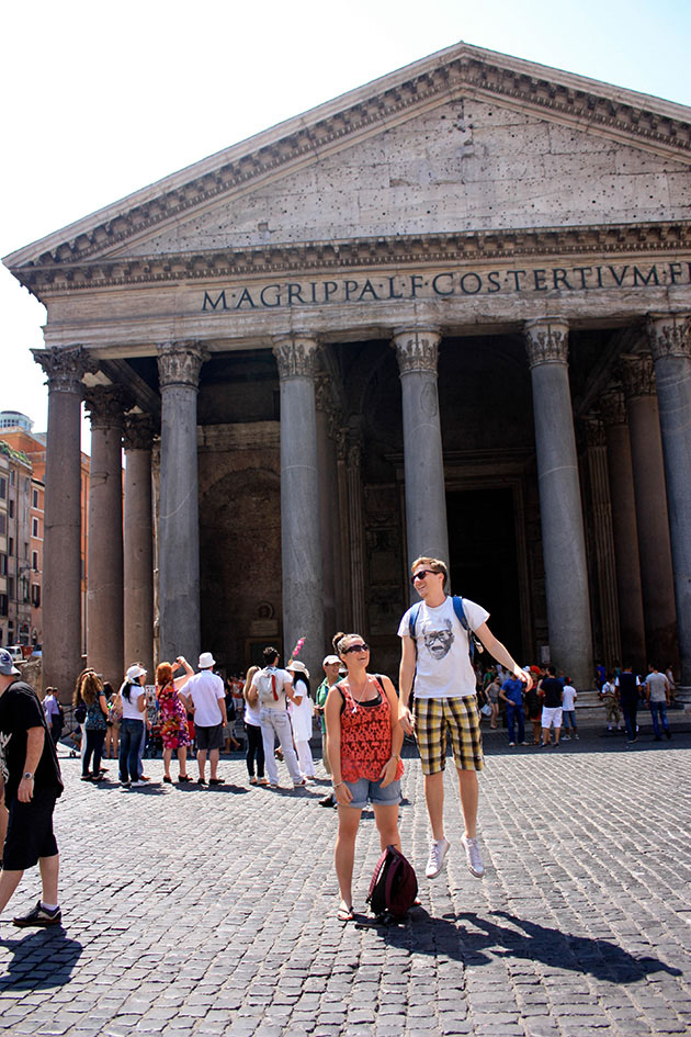Jumping in front of the Pantheon in Rome.