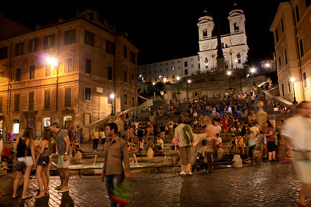 The Spanish Steps at night in Rome