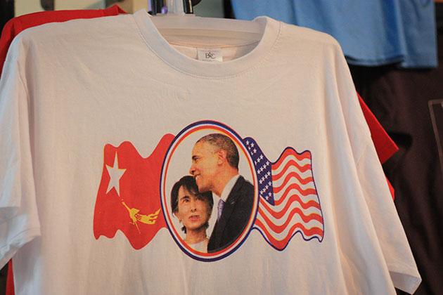 Aung San and Obama Tshirt in Bogoyke Market