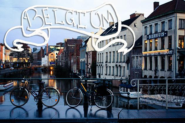 Belgium Bridge with Bicycles