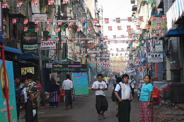 Bunting around Yangon