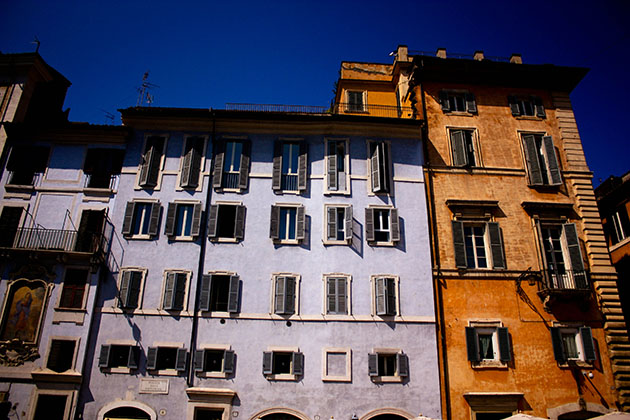 Coloured Rome Buildings