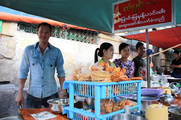 Street food stall in Yangon, Myanmar.