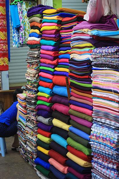 Longyis For Sale in Yangon Market
