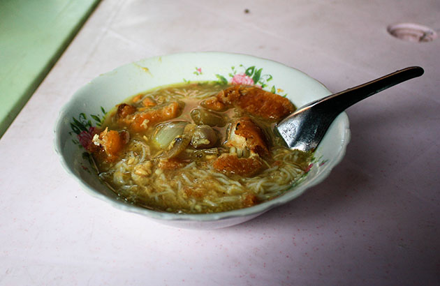 Mohinga, the traditional breakfast in Myanmar.