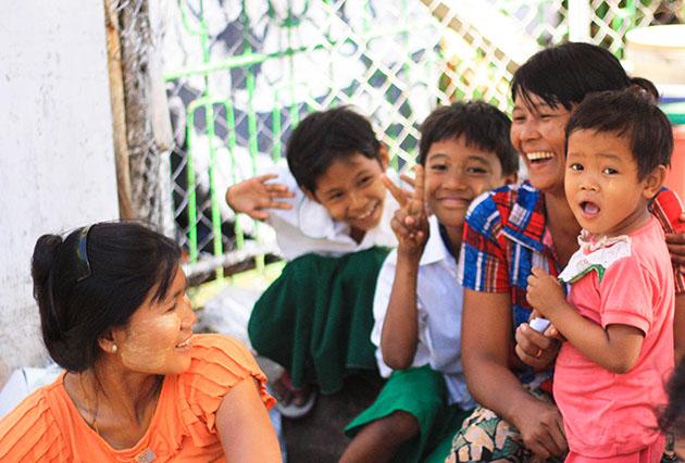 Locals smiling in Yangon, Myanmar