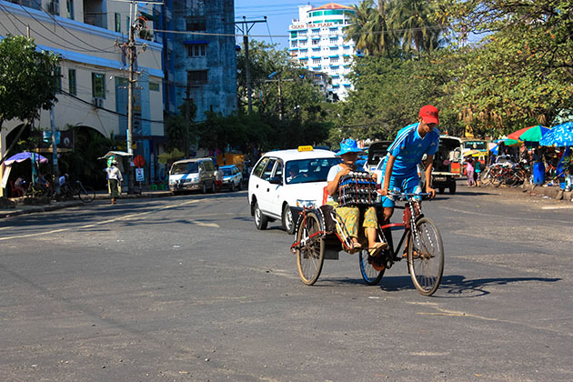 Toyota Taxi and Rickshaw in Yangon
