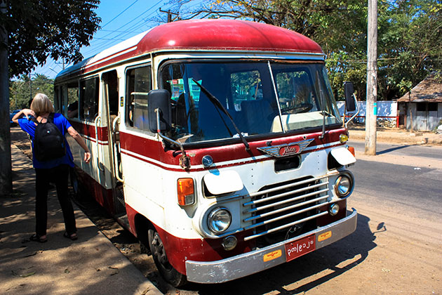 Old red and white bus in Yangon Myanmar