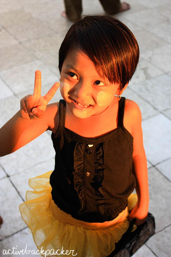 Burma Girl Gives Peace Sign